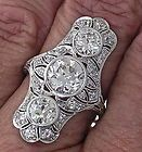 Drop Dead Edwardian Platinum 3 Stone Diamond Ring, Circa 1915 Very Rare - Designer Jewelry Galleria