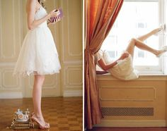 lace short wedding dress with gold shoes : )