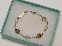 TIFFANY & CO Sterling Silver 925 & Freshwater PEARL Bracelet NATURE ROSE Flower #TiffanyCo