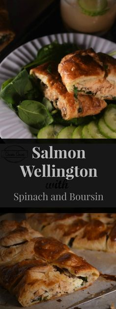 Salmon Wellington with Spinach & Boursin Cheese (Watch the video recipe!) A week night hero right here!  A quick and easy Salmon Wellington recipe – salmon wrapped in a thin layer of puff pastry with garlic herb cheese and spinach.