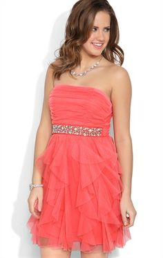 Glitter Strapless Short Prom Dress with Stone Waist and Tendril Skirt Coral
