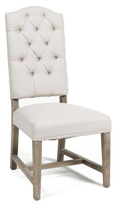 Add Elegance To Your Dining Table Or Living Room Seating Group With This Beautiful Camelback Side Chair Featuring An Oak Wood Frame And Neutral Tufted