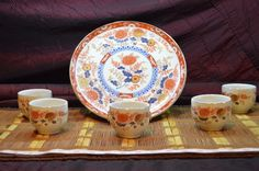 Set of 6 Orange & Blue Porcelain Decorative Plate & 5 Cups Floral Design