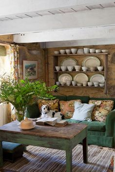 Cozy Rustic Living Room Dishes Display Small Living Room Decoration