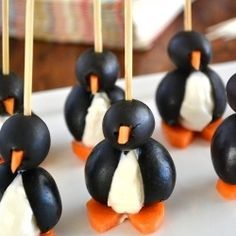 These simple to make Olive and Cream Cheese Penguins will be the hit of your next party