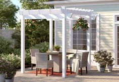 Sol 72 Outdoor™ Rockport 5 Piece Dining Set with Cushions & Reviews | Wayfair Pergola On The Roof, Vinyl Pergola, Pergola Decorations, Garage Pergola, Retractable Pergola, White Pergola, Modern Pergola, Pergola Canopy, Pergola Swing