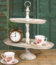 Oval ivory metal display stand with three tiers. Accessories not included. Tiered Server, Tiered Stand, Tier Tray, Tray Decor, Diy Crafts To Sell, Rustic Wood, Wood Crafts, Tree Crafts, Badges