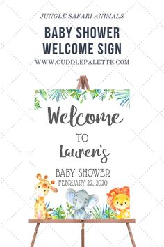 Welcome your baby shower guest to your Jungle Safari themed party with this beautiful welcome sign! Print the Welcome Sign right from your computer at home or to your favorite local print shops. Print it with the size you prefer 8x10, 11x15, 16x20, 20x24 or request a custom size. :) Baby Shower Printables, Baby Shower Themes, Baby Shower Decorations, Baby Shower Invitations, Baby Shower Gifts, Shower Ideas, Jungle Safari, Safari Animals, Safari Theme Party