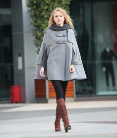 I'm crazy about this is this light grey. Grey Hoodie Cashmere Coat Double Breasted Hooded Wool Winter Cape Coat Wool Winter Jacket for Women - NC254. $109.99, via Etsy.