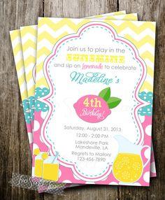 Pink Lemonade Invitation Party Birthday Invite Lemonade Stand Mason Jar Treat on Etsy, $16.00