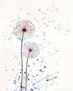 Dandelion Watercolor Wall Art Poster - Prices from 9 95 - Click Photo for Details - Watercolor Walls, Watercolor Flowers, Watercolor Paintings, Watercolor Dandelion Tattoo, Dandelion Drawing, Dandelion Wall Art, Baby Dekor, Dandelion Flower, Valentine's Day