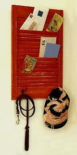 I love this letter holder made out of an old window shutter to go next to my old window cork board.