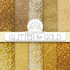 "Gold glitter digital paper: ""GLITTER AND GOLD"" with glitter background, gold glitter texture, gold background, gold texture for invitations #gold #glitter #texture #partysupplies #digitalpaper #scrapbookpaper #planner #wedding"