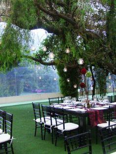 Linda decoración en Negro y Rojo contrastando con el Verde del Jardin