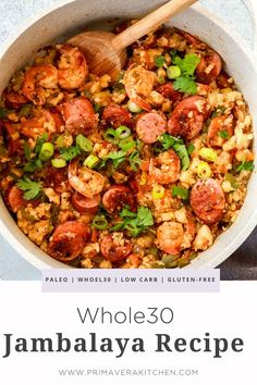 Having an easy and jambalaya recipein your recipe box means never missing out on these amazing traditional Louisiana flavors. Make a few small changes and enjoy this southern comfort food while maintaining your diet. It's perfect for a dinner family meal. Whole30 Dinner Recipes, Paleo Recipes, Whole Food Recipes, Amazing Food Recipes, Easy Comfort Food Recipes, Whole 30 Easy Recipes, Healthy Sausage Recipes, Healthy Comfort Food, Protein Recipes