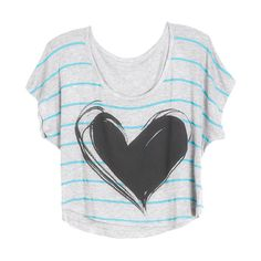 Neon Stripe Heart Tee found on Polyvore