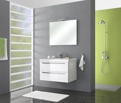 Budget badmeubels : Actieblok Cubic 90 cm m. spiegel incl. LED-verlichting | Happybad. Uit voorraad leverbaar !