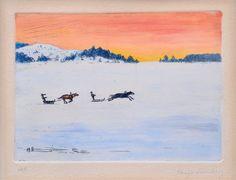 Racing on the ice by Hugo Simberg