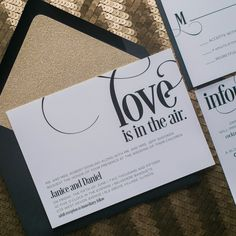Gorgeous black and gold glitter wedding invitations by Just Invite Me