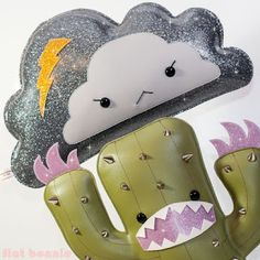 "Art Show: Flat Bonnie for ""Cutepocalypse"" at Clutter Gallery - Glitter cactus and cloud"