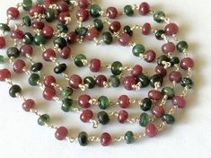 Emerald & Ruby Faceted Rondelle Beads in 925 by gemsforjewels