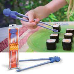 Each sturdy set of Chimp Sticks is fun to hold, easy to use, and the closest thing you'll get to being allowed to eat with your hands. Chimp Sticks are a washable food-grade silicone chimp with reusable chopsticks. Kids go ape over them! Kids Chopsticks, Picky Eaters Kids, Sushi Restaurants, Healthy Eating For Kids, Gadgets And Gizmos, Cool Stuff, Kid Stuff, Tableware, Packaging