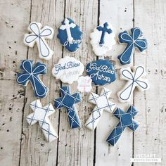 Boys First Communion Cakes, First Communion Decorations, First Communion Party, Baptism Party, Easter Cookies, Sugar Cookies, Christening Cookies, Cross Cookies, Confirmation Cakes
