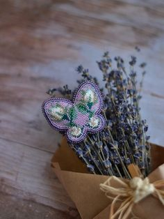 Violet Butterfly Embroidery brooch Beaded brooch Purple brooch Floral brooch Handmade jewelry Bead embroidery jewelry Вышивка бисером Вышивка бабочка Брошь бабочка