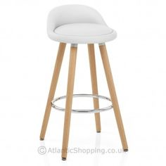 Crisp white faux leather upholsters the seat and low backrest on the Jive Wooden Stool White. Perfect for your nautical themed interior.