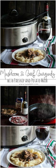 Slow cooker mushroom and beef burgundy, slow cooker beef and mushroom recipe, slow cooker beef burgundy recipe, crock pot beef burgundy, slowcooker beef and mashed potatoes, slow cooker recipe, crock pot recipes, easy family dinner idea