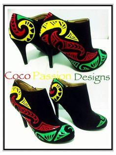 Rasta colours shoes ♥ tribal