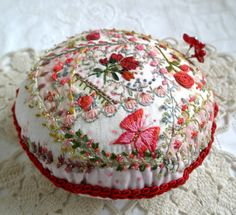 My Little Rose Garden Pincushion Crazy Quilted