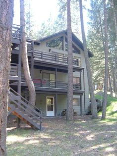 Your entrance into the Quail Brush is down 2 flights of stairs and into the white door in the lower level. http://www.wallowalakevacationrentals.com/vacation-rental-home.asp?PageDataID=74695