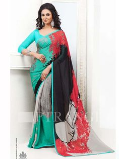 Multicolor Printed Designer Saree with Blouse