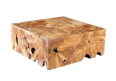 Teak Slice Coffee Table, Square  Contemporary, Transitional, Organic, Wood, Coffee  Cocktail Table by Phillips Collection