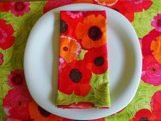 Red Pink Orange Lime Floral Cloth Napkins by ItsHandmadebyArianne, $28.00
