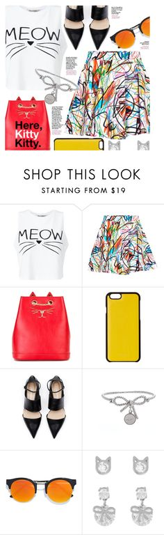 """Feline Fashion"" by stacey-lynne ❤ liked on Polyvore featuring Miss Selfridge, Jeremy Scott, Charlotte Olympia, Knomo, LULUS and Betsey Johnson"