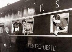 Brazil players catch a train, 1960