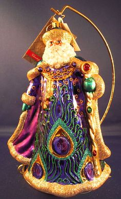 Papa Plumage Christopher Radko Santa Ornament Peacock 1016470 2012 Midyear | eBay