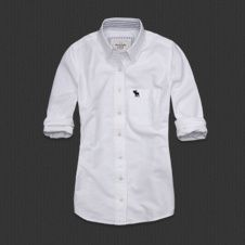 """A & F """"Alyssa"""" white buttoned down shirt - perfect with skinny jeans & boots"""