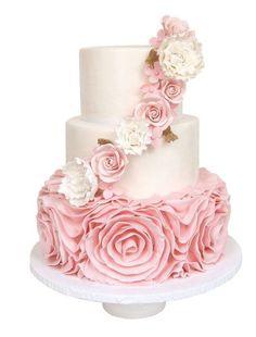 pink ruffles wedding cake idea via Sugarlips Cakes   Deer Pearl Flowers