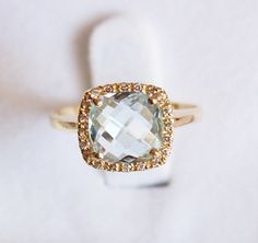 Vintage 14k Gold Blue Topaz Cushion Cut Ring by orlysvintageplace, $285.00 I AM IN LOVE!!!! Future fiance i will die if you get me this. Just sayin