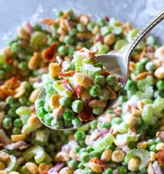 Serves: 4    Ingredients          2-1/2 cups frozen peas (about 13 ounces)   1 cup dry roasted peanuts   1 cup chopped celery   6 bacon strips, cooked and crumbled   ¼ cup chopped red onion   ½ cup mayonnaise   ¼ cup