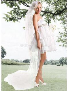 Beautiful Strapless Ruffles Organza Mini Wedding Dress