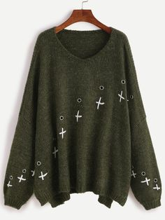 To find out about the Army Green Drop Shoulder Metal Eyelet Sweater at SHEIN, part of our latest Sweaters ready to shop online today! Look At You, Color Block Sweater, Sweater Jacket, Pulls, Army Green, Pullover, Clothes For Women, Shoulder, My Style