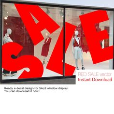 The vinyl decal design. Big letter of SALE by VITRINISTA. It is ready-made solution for a showcase. Window Display Design, Shop Window Displays, Retail Displays, Retail Windows, Store Windows, Window Decals, Vinyl Decals, Window Signage, Shop Fronts