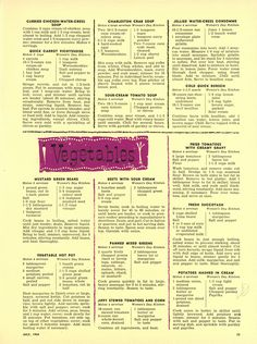 """""""The Woman's Day 1954 Summertime Cook Book"""" Soup + Vegetable Recipes from """"Woman's Day"""" 