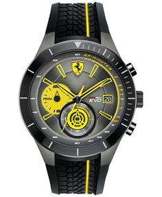 Ferrari Men's Chronograph Red Rev Evo Black Silicone Strap Watch 46mm 0830342