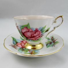 """Paragon Tea Cup and Saucer with Rose, """"Rendez Vous"""", Harry Wheatcroft, Six World Famous Roses, Peach Center, Vintage English Bone China"""