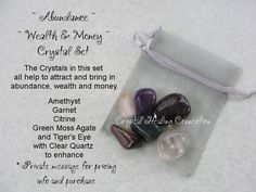 ~ Wealth and Money Set ~  The crystals in this set help to attract and bring in abundance, wealth and money. Amethyst, Garnet, Citrine, Green Moss Agate, Tiger's Eye and Clear Quartz www.thecrystalhealingconnection.com